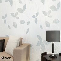 Leaves Wallpaper Non-woven Modern Sofa Background Leaf Wall Paper for Living Room Home Decor Papel de parede Silver