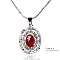 Wedding Gift Micro AAA Zironia Crystal Paved Ruby Bridal Necklace