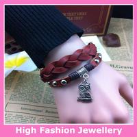 X1002 free shipping high quality classic jewelry bracelets hot selling fashion real leather handmade wristband 10pcs/lot