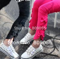 2014 New Fashion Slit Bows Stretch Baby Girls Skinnny Pants Children Pencil Pants Leggings  1pcs/1lot