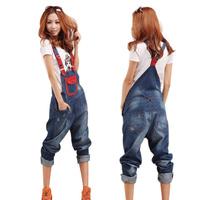 New Plus Size women salopette / jeans feet / women suspenders trousers