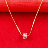 Real 24K Yellow Gold Plated Necklace Blacks Women Men Luxury With Zircon Round Pendant Snake Chain Africa Jewelry A052