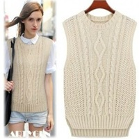 women yarn vest Spring sweater women beige twisted sleeveless sweater small fresh basic pullover vest  knitted coat one piece