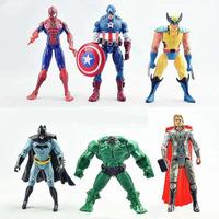 15CM,6PCS/SET,The Avengers,Captain America, The Hulk, Batman, Iron Man The Spider, PVC Models,Drop Free Shipping