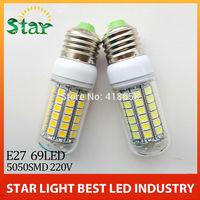 Retail 2014 New 69leds SMD 5050 E27 LED bulb lamp ,Warm white/white,15W 220V-240V 5050SMD LED Corn Bulb Light,free shipping
