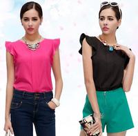 atacado roupas femininas camisas blusa new 2015 spring plus size butterfly sleeve chiffon ladies women blouses shirt C329