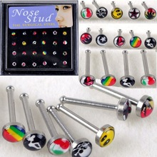 48pcs Wholesale Body Jewelry Nose Ring Piercing Nose Studs With Pad Mixed Style Cheap Price Free Shipping