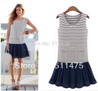 High quality New 2014 Women's casual o-neck sleeveless striped summer tank dress hot sale