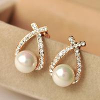 FREE SHIPPING Elegant curve elegant pearl stud earring female earrings fashion jewelry
