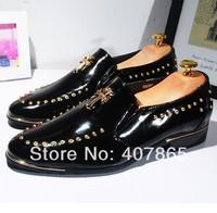men 2014 New England retro men's shoes rivets men's leather shoes