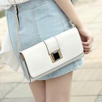 Rectangular shoulder bag new European and American style women turn buckle length zipper sandwich bag diagonal package