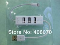 High quality 3 ports USB 2.0 HUB with lightning connector for iPad/Mini iPad/iPhone 5/iPad touch 5/iPad nano 7 Free shipping