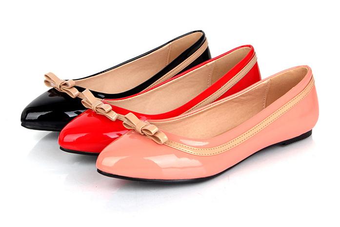 Sapatos documentários planas boca rasa apontou sapatos baixos bowknot é lazer coringa sapatos de senhora(China (Mainland))