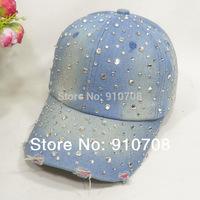 2014 women Diamond   washed denim baseball cap girls diamond hat  fashion baseball caps female  snapback hats drop shipping free