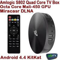 Hot S82 XBMC Android TV Box Quad Core Amlogic S802 2GB/8GB Mali450 GPU 4K HDMI Bluetooth WiFi Android 4.4 KitKat Mini PC