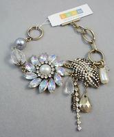Bracelet bohm crystal diamond decoration leaves vintage gold