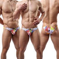 Fashion New Arrivals Brand Cotton Men's Sexy Underwear Cool Color Printed Jockstrap Briefs Nightwear Size M L XL#WH24