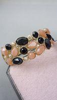 Bracelet bright gold gem inlaying spring opening