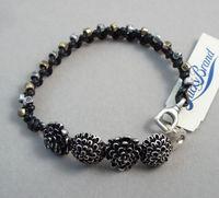 Bracelet black genuine leather rope mixed metal finishing retro gold flower
