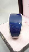 Bracelet vintage silver blue glaze inlaying high quality 131224 06 01