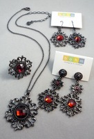 Jewelry set twinset bohm necklace earrings big stud earring ring