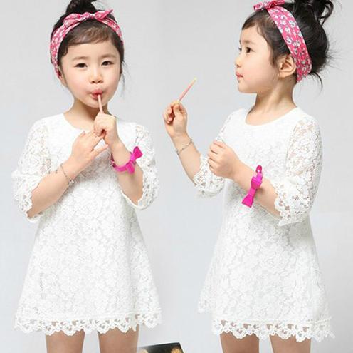 Livraison gratuite, printemps, hot vente 2014 vêtements pour enfants, vêtements de fille, robe, coréen, jupe, occasionnels, de la dentelle, plaid, les enfants portent