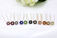 Free Shipping Wedding Bridal Crystal Flower Design Hair Pin Silver Plating Hairpin 7cm Mixed Colors 200pcs/Lot