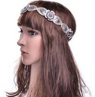freeshipping wholesale retail fashion lace flower beaded gems headband popular fashion hair accessories