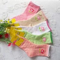 Autumn and winter small flower 100% cotton baby socks 4 - 8 years old female child socks boy big boy 100% cotton socks