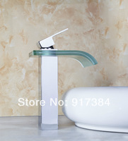 Construction Real Estate Unique Chrome Waterfall Glass Bathroom Sink Basiin Single Handle M-009 Mixer Tap Faucet