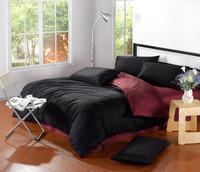 Classic Pure color Plain mixed colors 100%cotton 4pcs Bedding Set/ Duvet Cover Bedding Sheet Bedspread Pillowcase Black Wine Red