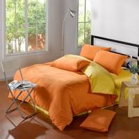 Classic Pure color Plain Mixed colors 100%cotton  Bedding Set/ Duvet Cover Bedding Sheet Bedspread Pillowcase Orange& Yellow