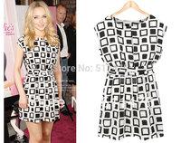 High quality o-neck sleeveless pleated plaid summer dress with Sashes New 2014,chiffon dress,casual dress,winter dress