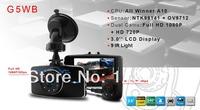 Original 2014 New G5WB Allwinner H.264 Dual Lens Car DVRS G-Sensor FHD 1080P+3.0' LCD+IR night vision+140 Degrees Wide angle
