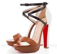 luxury brand women sandals new 2014 famous brand women pumps sandals sexy red bottom high heels sandals thick heels pumps