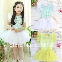 Wholesale! New 2014 Kids girls short-sleeved dress sequined flower girl lace tutu, children dress, free shipping