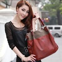 New 2014 spring fashionable casual brief color block decoration big bag one shoulder handbag vintage all-match women's handbag