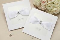 2014 New Arrival,White Retro Classic Lace bow rhinestone Wedding Invitation Card with Envelopes,Customizable Printable Wholesale