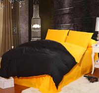 Classic Pure color Plain Mixed colors 100%cotton  Bedding Set/ Duvet Cover Bedding Sheet Bedspread Black + Blue