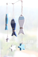 whole sale,The Mediterranean Sea/ocean style Creative home lovely pendant Wall act the role of wooden fish, starfish twine