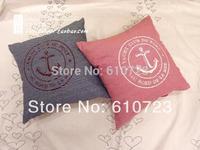 whole sale,Mediterranean Sea/ocean style stripe denim printing sea anchor couples back cushion pillow/core