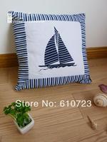 whole sales The Mediterranean Sea/ocean style Cotton canvas blue and white stripe sailing Back cushion pillow cushion