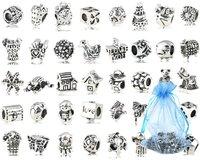 Tibetan Bulk Lots 30 Beads Charms Set Mix Lot - fits European Bracelet Biagi Troll Chamilia Bracelets w/ Pouch 2Q533