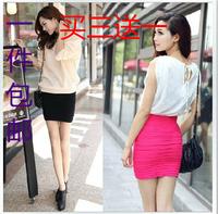 free shipping Bag skirt candy color stripe sexy slim short skirt  slim pencil skirt  hot selling