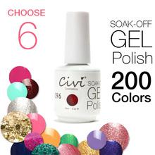 ( Escolha 6) Civi UV Gel polonês mergulhe off unhas de gel 30 dias de longa duração 200 cores lindos O Melhor Gel Polish(China (Mainland))