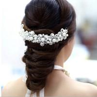 Free Shipping Pearl Crystal Handmade Hairwear Wedding Bride Flower Headband Bridal Hair Accessories q005