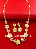 Africa Real 24K Yellow Gold Plated Necklace Earrings ! Blacks Women Luxury Seven Flower Pendant Jewelry 24K Set Drop Ship A079