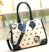 New promotion spring 2015 women female smiley bucket  bag leather handbags designers brand  high quality bolsos Free Shipping