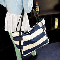 2014 Navy wind stripe canvas shoulder bag casual Japanese Korean wild retro fashion female bag big wholesale handbag women