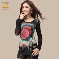 2014 spring women's shayi fashion rose lace rhinestones gauze long-sleeve T-shirt basic shirt